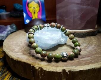 Unakite 8mm Crystal Bead Buddha Head Bracelet