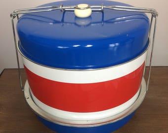 Mid-Century J.L. Clark Triple Decker Metal Food / Cake Carrier Patriotic Red White & Blue