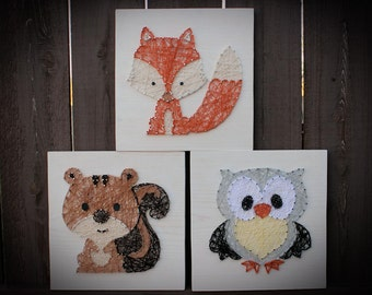 Woodland Animal String Art, Woodland Nursery Art, Woodland Nursery Decor, Squirrel, Owl, Fox, Set of 3, String Art, Baby Animals,Baby Shower