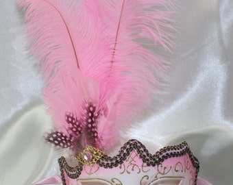 Ladies Pink Venetian Masquerade Eye Mask / Pink and Gold Glitters with Feathers Ideal for Carnival - Quality Replica U36141