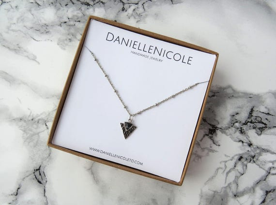 Black Marble Triangle Necklace, Pendant Necklace, Charm Necklace, Simple Necklace, Dainty Necklace, Layering Necklace, Everyday Jewelry