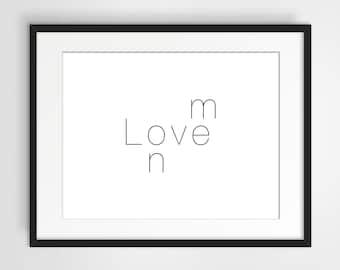 Love On Me Word Puzzle, Digital Print, wall art, printable art, black and white, minimalist print