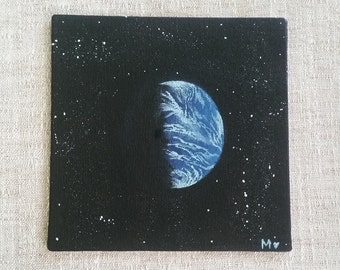 Blue planet, planet Earth, acrylic painting, canvas 6x6, space and stars, planet shadows