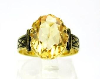 Brilliant Victorian 14K Gold Sterling & 3ct Natural Citrine Gemstone Ring Size 7 etI050C