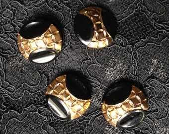 4 art deco glass buttons- c1940s