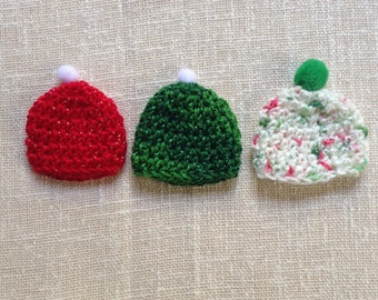3 vintage handmade teddy/doll hats