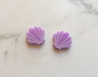 Clam Shell Earrings, Clam Shell Studs, Clam Earrings, Clam Studs, Mermaid Earrings, Mermaid Studs, Clam Shell, Pink Earrings, Jewellery
