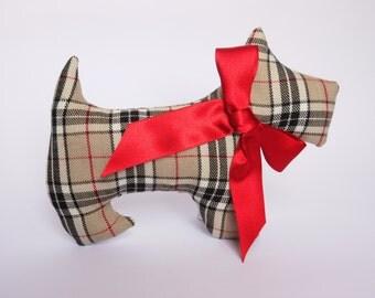 Lavender Scented Thomson Camel Tartan Scottie Dog. Birthday gift. Burberry. Scented sachet, Scottish gift. Gift for a dog lover.