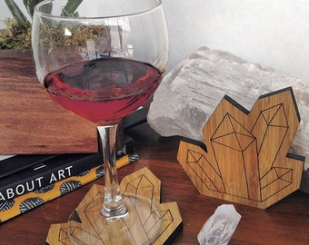 Wooden Crystal Shaped Coasters - Lasercut Bamboo
