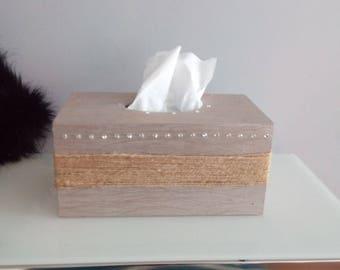 Wooden Shabby Chic Tissue Box with Swarovski Crystals