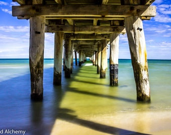 Underside of Seaford Pier.  Beach, water, sea. color photography