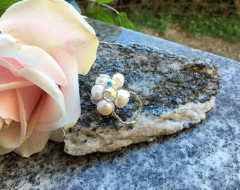 Flower Ring Silver Pearls and Crystals One Off