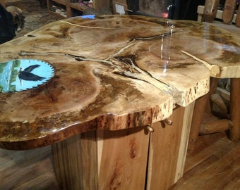 Maple top kitchen table, hand made with live edge