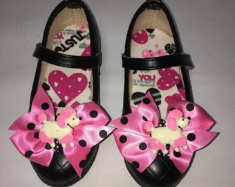 Polka Dot Poodle Bows and Black SASSAFLATS shoes with a snap