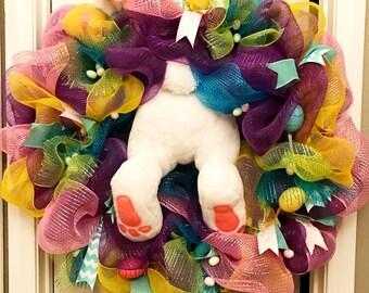 Bunny butt wreath, Easter Wreath,Easter Bunny Butt Wreath, Deco mesh wreath