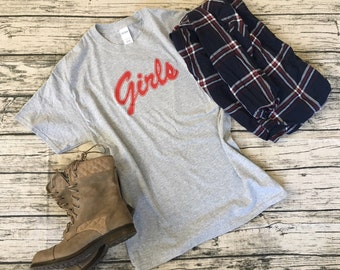 """Friend's Inspired """"Girls"""" Shirt from the TV show - worn by Rachel and Monica! Super cute, casual, light weight, and comfy."""