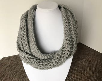 Gray twisted cowl, gray cowl, gray scarf, gray infinity scarf, gray crochet cowl