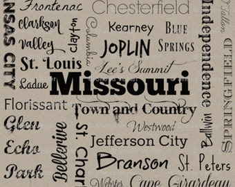 Missouri Cities fabric - by the yard - taupe and black - gray and black - yellow and black