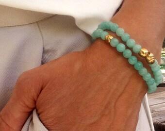 Bracelet set, beaded Bracelet, Stretch bracelet, Elastic Bracelet, Womens Bead Bracelet, Gemstone Jewelry, turquoise Bracelet