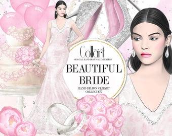 Wedding Clipart, Bridal Shower, Bridal Clipart, Watercolor Clip Art Set, Fashion Illustration, Fashion Girl, Planner Stickers, Glitter