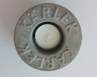 Swedish Love Kärlek tea candle, home decor, Scandinavian gift