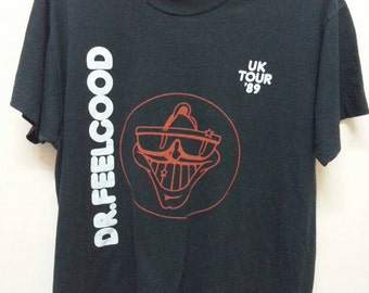 Vintage Dr.Feelgood shirt tour uk 89/British 70.s rock band/large size/ Made in usa