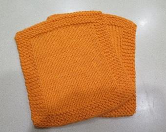 knitted orange wash cloth