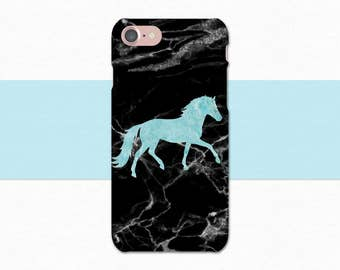 Equestrian iPhone Case, Marble Horse iPhone Case, Horse Galaxy Case, Blue Black Marble iPhone 6 7 Plus, Horse Galaxy S6 S7 Edge, Horse Case