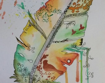 Watercolour painting. Feathers series #2
