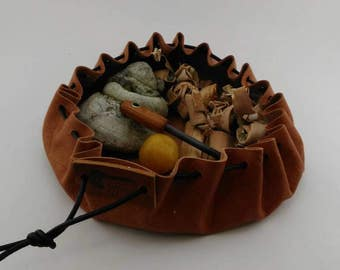 Leather bushcraft/possibles pouch, 300mm