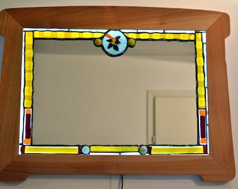 Mosaics Stained Glass Mirror No.3, Decorative Glass Mirror, Wall Mirror