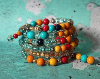 Beaded Bracelet/Memory Wire Bracelet/Bracelet Stacks/Bohemian Jewelry/Summer Jewelry/Memory Wire Beaded Bracelet/Beaded Cuff/Cuff Bracelet