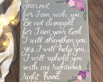 Isaiah 41:10, canvas painting, floral, scripture