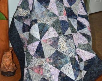 Lap Quilt, Large Throw Quilt, Batik, Purple, Blue, Pink, Quilt, Circles Quilt,  Drunkard's Path Handmade