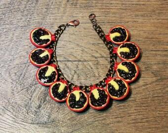 Pomegranate bracelet, fruit bracelet, dark red bracelet, nature bracelet, pomegranate jewelry, garnet bracelet, garnet and polymer clay