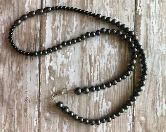 Hematite and Black Onyx necklace, Gemstone necklace Healing stones, Gemstone jewelry, Protection beads,Hematite necklace,protection necklace