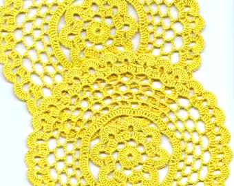 Set of Two Crochet Doilies Lace Lacy Doily Wedding Decoration Home Decor Flower Mandala Dream Catcher Crocheted Pineapple Round Yellow