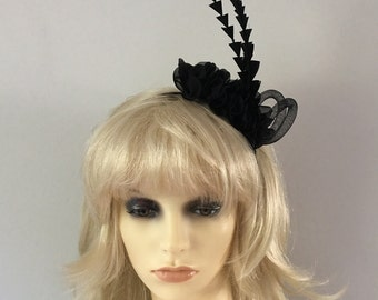 Black cut feather headband, Accessory, party, Horse racing, fascinator, wedding, funeral wear, Hat, headwear,