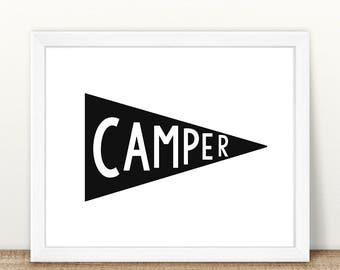 PRINTABLE Camper Pennant Flag, Monochrome Print, Instant Download, Digital File, Camper Printable, Pennant Flag Printable, Monochrome Print
