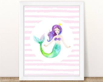 PRINTABLE Mermaid Nursery Wall Print, Mermaid Wall Art, Mermaid Printable, Mermaid Nursery Print, Mermaid Bedroom, Watercolor Mermaid Print