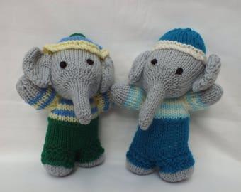 Hand Knitted Elephants, Handmade Animals, Stuffed Small Soft Toys