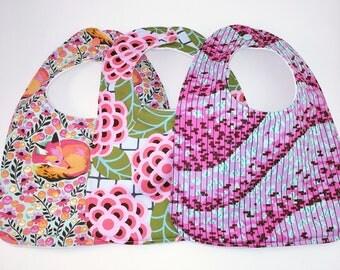 Set of 3 handmade bibs: Tula Pink, Amy Butler fabrics