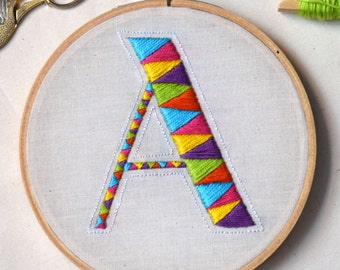 """Hand Embroidered Letter Hoop Art, """"A"""""""