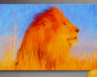 Lion pencil painting print,Giclee print,Digital painting,Wall decor,Wall art,