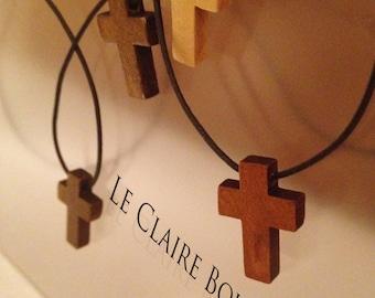 Beautiful Natural Wood Cross Pendant Necklaces