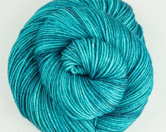 Hand dyed yarn, DK, BFL, Silk, Cashmere, Blue