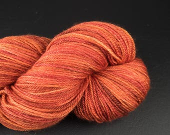 Hand dyed yarn, 4ply, sock yarn, BFL/Silk/Cashmere, Mixed Paprika