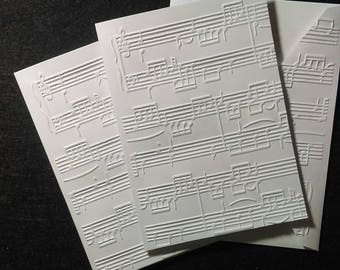 6 handmade blank embossed music cards and envelopes
