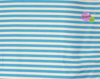 Cotton stripe turquoise white stripes