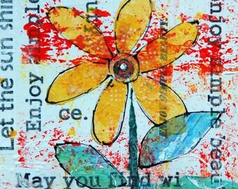 "Enjoy Simple Beauty - Original Mixed Media Painting 8""x 8"" - Yellow Flower Art, Affirmation Plaque, Positive Art, Wall Decor"